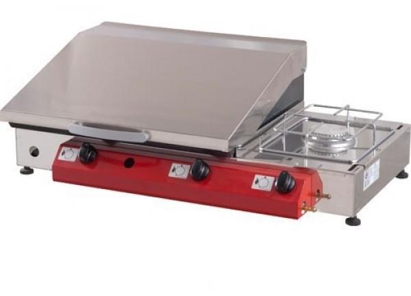Stolni plinski roštilj Gorenc, 80 x 40, Fe 5 mm ploča, dva plamenika, kuhalo, RF poklopac