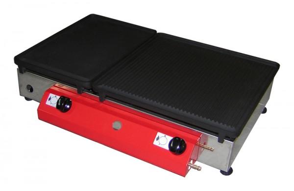 Stolni plinski roštilj 65x40, ploča od lijevanog željeza, dva plamenika