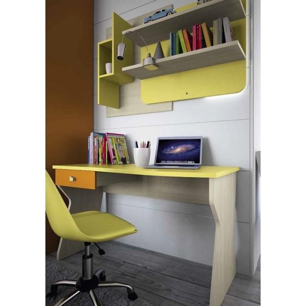 Dječja soba Colombini Volo C101 - uredski stol i zidni sastav s policama