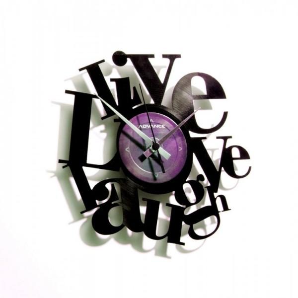 Zidni sat Disc'o'clock Live, Love, Laugh