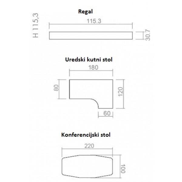 Uredski set TK05 -dimenzije