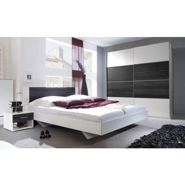 Spavaća soba ANNA s kliznim vratima (crn orah-bijela) - mali set