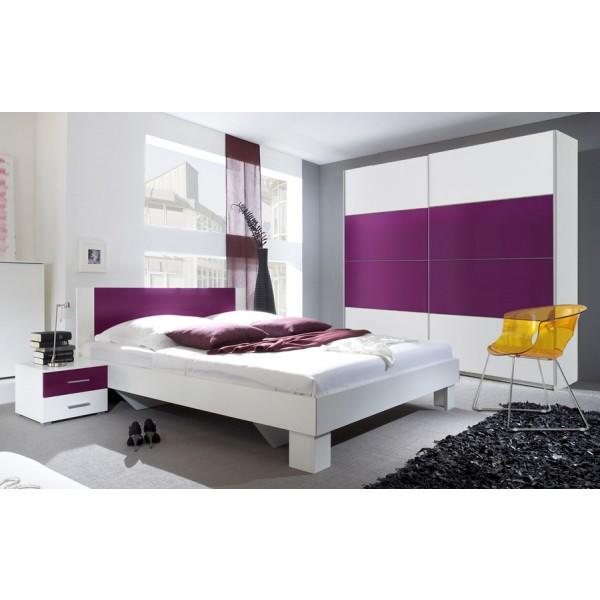 Spavaća soba ANNA s kliznim vratima (bijela-lila) - mali set