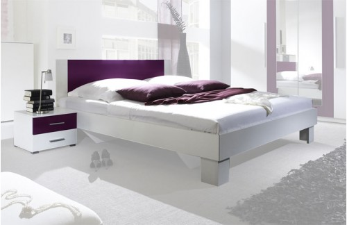 Krevet ANNA s noćnim ormarićem (bijela-ljubičasta)