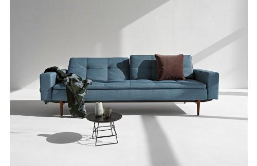 Kauč DUBLEXO SOFA BED s rukonaslonima i s tamno stileto drvenim nogicama