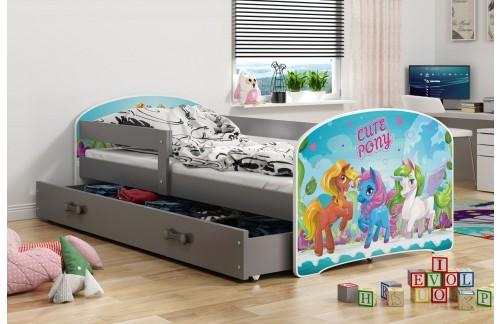 Krevet LUKI s ladicom-Grafit-Pony