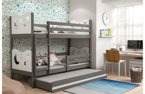 Krevet na kat MIKO s dodatnim ležajem 90x200(različite boje) + GRATIS ležište