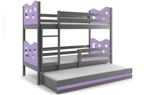 Krevet na kat MIKO s dodatnim ležajem -Grafit-Ljubičasta (RASPRODAJA)