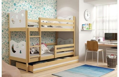 Krevet na kat MIKO s ladicom-bor-bijela (RASPRODAJA)