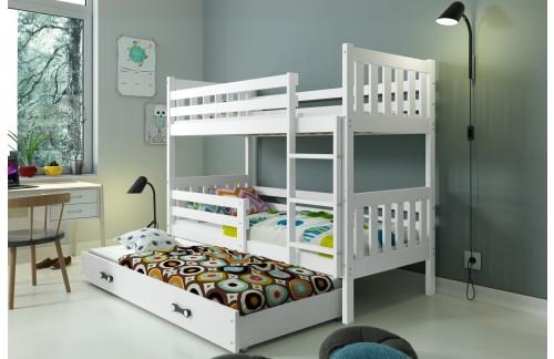 Krevet na kat CARINO s mogućnosti dodatnog ležaja – bijela boja
