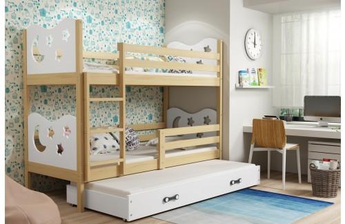 Krevet na kat MIKO s dodatnim ležajem 160x80 -Bor-Bela + GRATIS ležište
