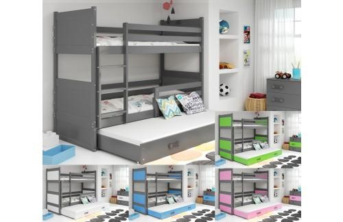Krevet na kat RICO 90x200 s dodatnim ležajem - GRAFIT (VIŠE BOJA)