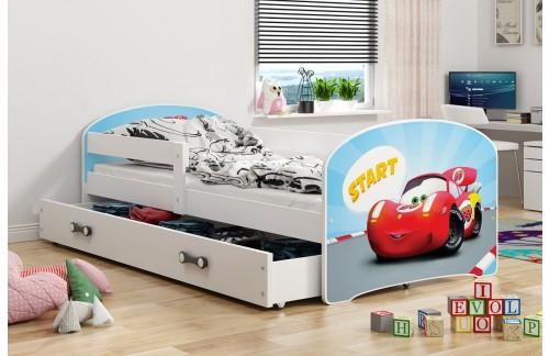 Krevet LUKI s ladicom (Bijela-Auto) + GRATIS ležište