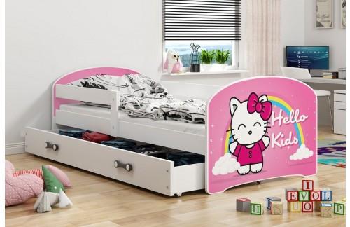 Krevet LUKI s ladicom- (Bijela-Hello Kids) + GRATIS ležište