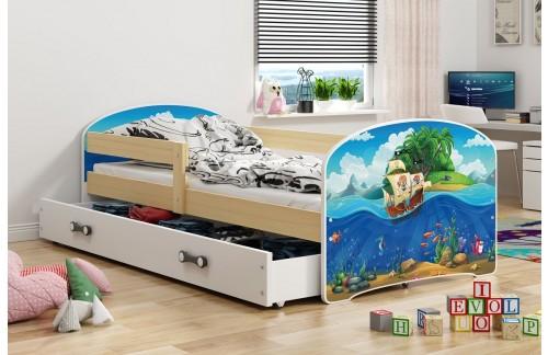 Krevet LUKI s ladicom-Bor-Pirati