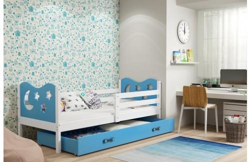 Krevet MIKO s ladicom (različite kombinacije boja)-Bijela-Plava
