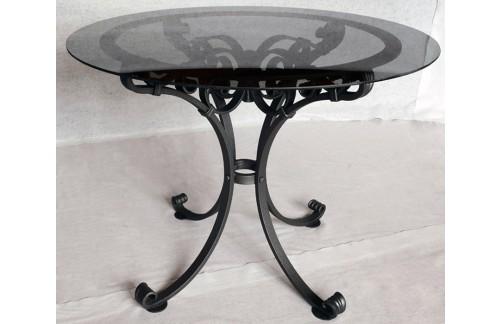 Ručno kovan okrugli stol sa staklom ø90cm