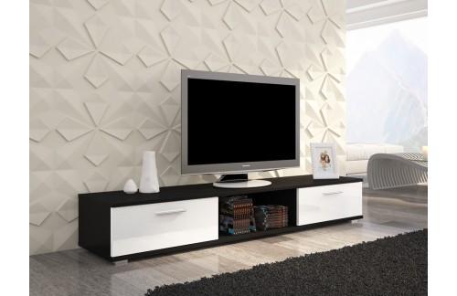TV regal SELLA-Crna/bijela, visoki sjaj