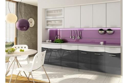 Kuhinja SMILE 2,4 m - bijelo-crna