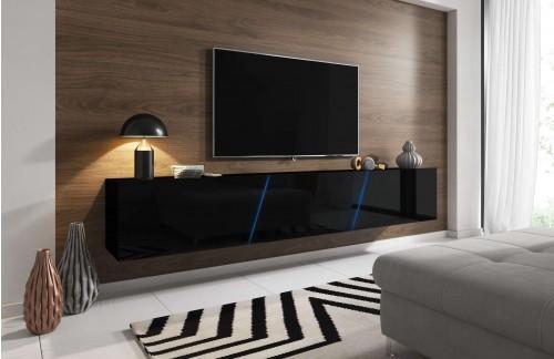 Viseći TV ormarić LANT visoki sjaj Crna 240 cm+ LED