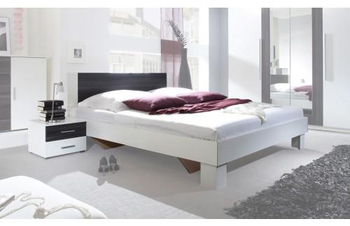 Krevet ANNA s noćnim ormarićem (bijela-crni orah)