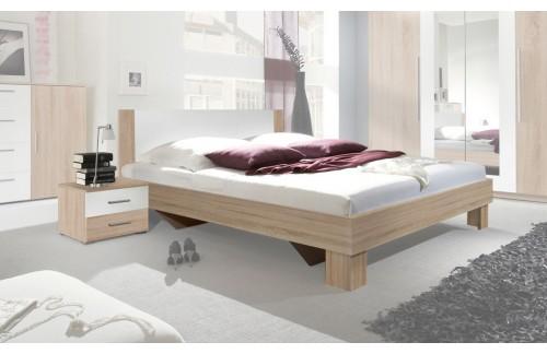 Krevet ANNA s noćnim ormarićem (bijela-hrast)