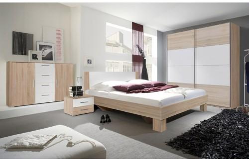 Spavaća soba ANNA s kliznim vratima (bijela-hrast) - veliki set