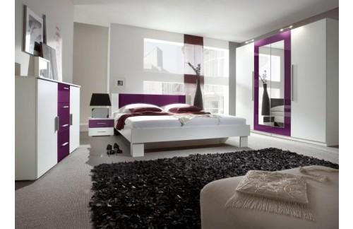 Spavaća soba ANNA, veliki komplet (bijela-ljubičasta)