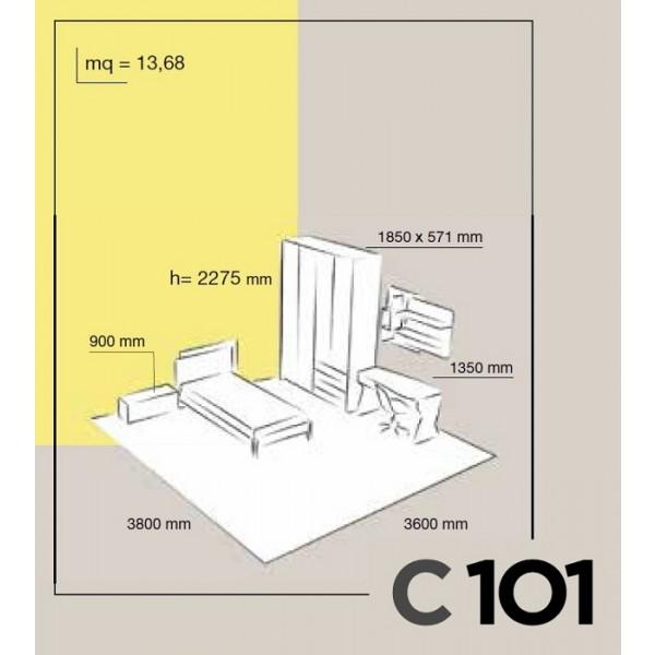 Dječja soba Colombini Volo C101 - skica