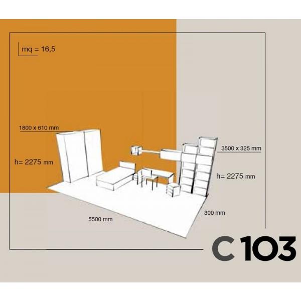 Dječja soba Colombini Volo C103 - skica i dimenzije