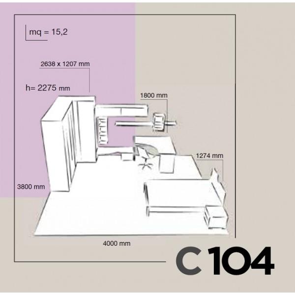 Dječja soba Colombini Volo C104 - skica i dimenzije