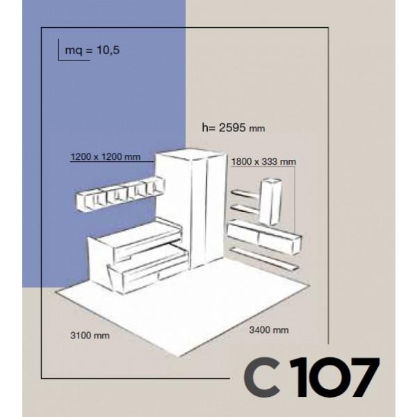 Dječja soba Colombini Volo C107 - skica