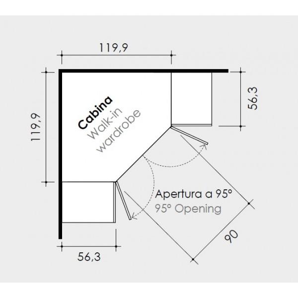 Dječja soba Colombini Volo C114 - skica i dimenzije ormara