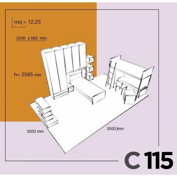 Dječja soba Colombini Volo C115 - skica