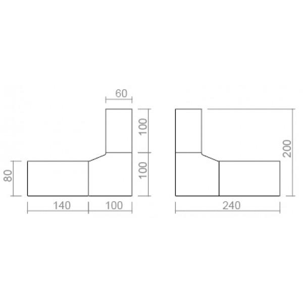Kutni uredski stol TK01 - dimenzije