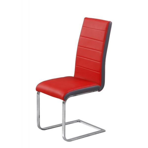 Stolica Tip Top: crveno sjedište, sivi rub
