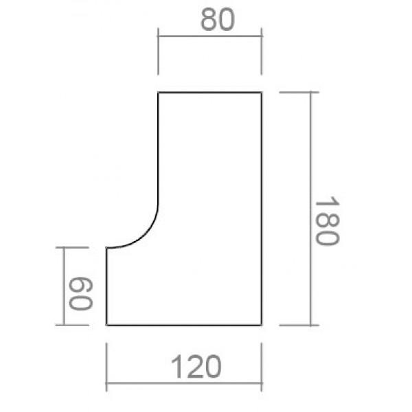 Uredski kutni stol i ladičar s kotači TK05-dimenzije