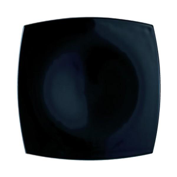 Plitki krožnik Quadrato Crni