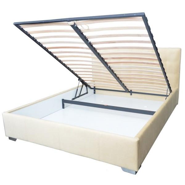 Oblazinjena postelja OLIMP z dvižnim mehanizmom - predal za shranjevanje