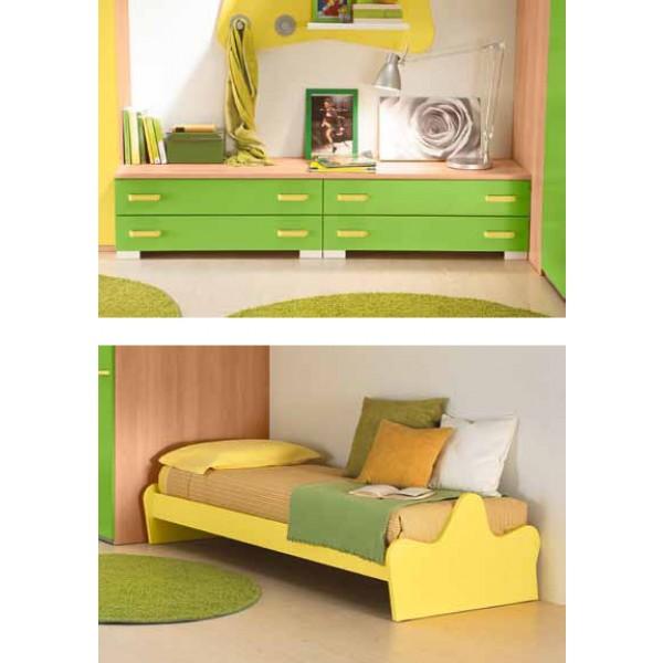 Dječja soba Colombini Volo V310 - regal i krevet