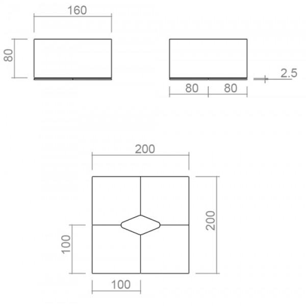 Uredski set TK04 - dimenzije