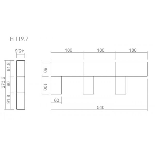 Uredski set TK03 - dimenzije