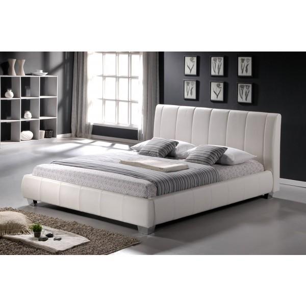 Krevet Breda: bijela umjetna koža