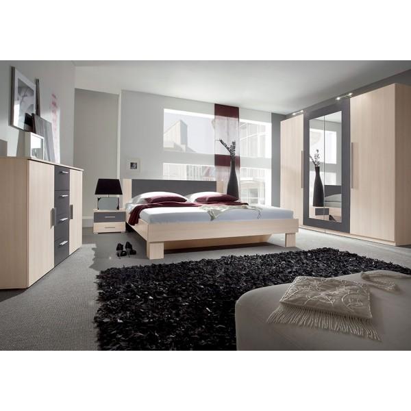 Spavaća soba ANNA, veliki komplet (antracit-breza)