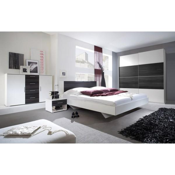 Spavaća soba ANNA s kliznim vratima (crn orah-bijela) - veliki set
