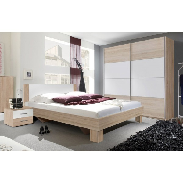 Spavaća soba ANNA s kliznim vratima (bijela-hrast) - mali set