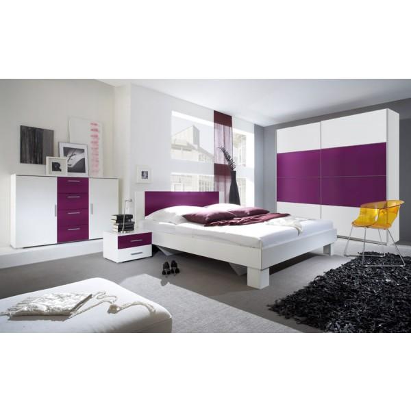 Spavaća soba ANNA s kliznim vratima (bijela-lila) - veliki set
