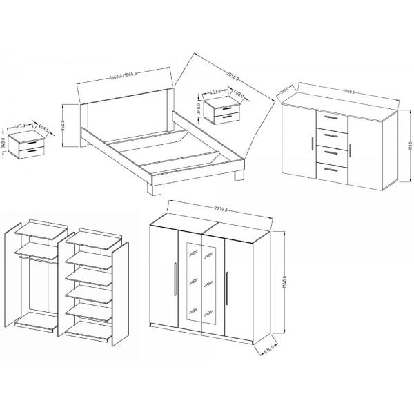 Spavaća soba ANNA dimenzije i skice elemenata